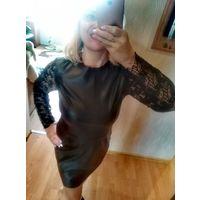 Платье экокожа  и кружево фирмы Zara р.Л