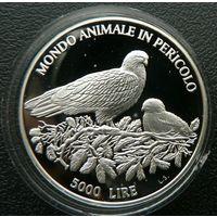 Сан-Марино. 5000 лир 1996. Голуби. Серебро. Пруф. 112