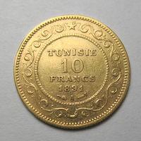 Тунис 10 франков 1891 год