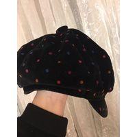 Шапка кепка 55 бархатная черная в цветной горошек