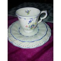 """Старинное чайное трио """"Голубые пионы"""" японский фарфор Nikko. Выглядит как новое."""