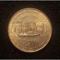 Италия, 200 лир 1989, 100 лет морской военной базе в Таранто