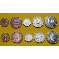 Гернси набор 1, 2, 5, 10, 10 пенс третий возраст Елизаветы II