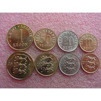 Эстония набор 10 20 50 сенти 1 крона 2006-2008 unc