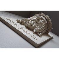 ЛИК ИИСУСА Травертин 48х33х28 см 11 кг икона панно бюст барельеф статуэтка горельеф