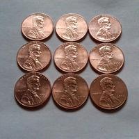 1 цент США, погодовка 2000-х, (без 2009 г.)