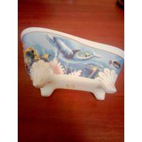 Керамическая подставка ванночка, мыльница на ножках - 100% КЭШБЭК