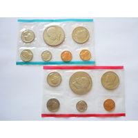 Памятные наборы монет США 1973 г.! Сост.- UNC (в запайке). 2 Монетных двора.6