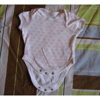 Боди бело-розовый Tesco на рост 56-62 см