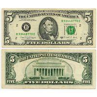 США. 5 долларов (образца 1988 года, 1988A, B, Нью-Йорк, P481b)