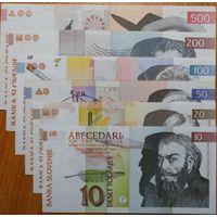 10+20+50+100+200+500 толар 1992г.