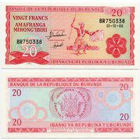 Бурунди. 20 франков (образца 1989 года, P27b, UNC)