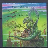 [935] Танзания 1994. Фауна.Динозавры. Гашеный блок.