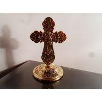 Крест на подставке, Ангел Хранитель, металл. разборный, под золото