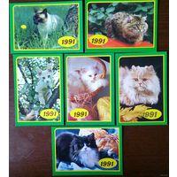 Календарики. 1991.Коты. Набор 6 шт.