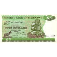 Зимбабве 5 долларов 1983 UNC