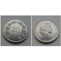 20 рапен Швейцария 1975 год, KM# 29a, 20 RAPPEN, из коллекции