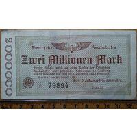 2 миллиона марок 1923г. Берлин (железная дорога)