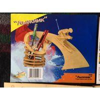 Подставка для ручек Лыжник сборная деревянная модель