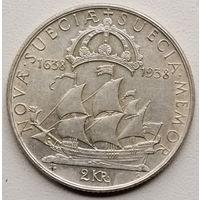Швеция 2 крона 1938 300 лет поселению Делавэр