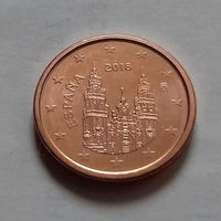 1 евроцент, Испания 2018 г., AU