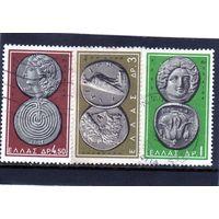 Греция.Ми-809,811,813.Гелиос (Солнце) и Роуз, Родос,4-ый век до н.э;Зевс и орел ,Олимпия 4в.до н.э.;Апполон и лабиринт.Крит,3 век до н.э. Серия: Греческие Античные монеты.1963.