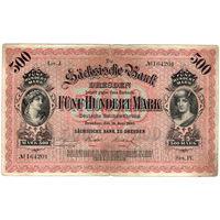 Саксония, 500 марок, 1890 г. Ros. SAX7. Редкая.