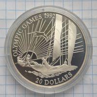 Кирибати 20 долларов 1992г серебро пруф
