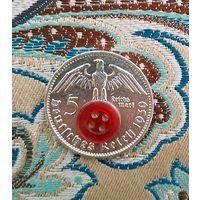 5 марок 1939 F Германия серебро