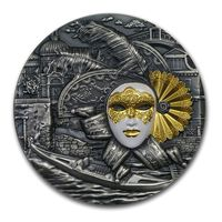 """Ниуэ 2 доллара 2019г. """"Венецианская маска"""". Монета в капсуле; подарочной рамке с сертификатом; коробка. СЕРЕБРО 62,27гр.(2 oz)."""
