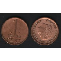 Нидерланды km180 1 цент 1960 год (h01)