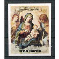 Сев. Корея КНДР 1983 Религия Живопись Корреджо Мадонна  блок*