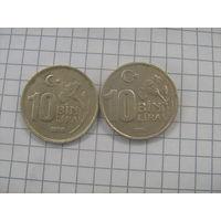 Турция 10 000 лир 2 шт (1998г.km1027.3 и 1995 km1027.1)