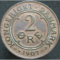Дания 2 эре 1907 не частая