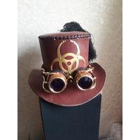 Шляпа, цилиндр из натуральной кожи стимпанк