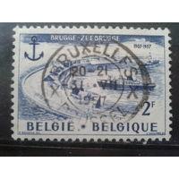 Бельгия 1957 Корабли в порту Брюгге