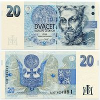 Чехия. 20 крон (образца 1994 года, P10a, UNC)