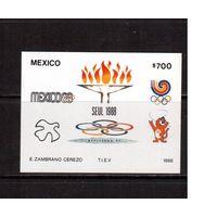 Мексика-1988,(Мих.Бл.35)  * (подломан угол) Спорт, ОИ-1988