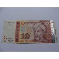 Таджикистан. 10 сомони 1999 год