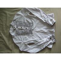 Блузка белая школьная, отделана воланами, длинный рукав, приталена, с молнией в боку для удобства, 158-40, х/б 98% с эластаном