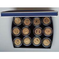 Знаки зодиака 100 рублей 2009 Au Футляр для 12 монет с капсулами 45.00 mm