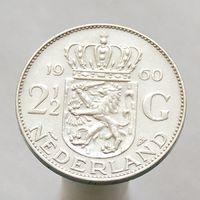 Нидерланды 2.5 гульдена 1960 СЕРЕБРО