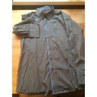 Стильная рубашка на 44-46 размер красивого серого цвета, рукав можно закасать, есть пуговица специальная, длина 75 см, длина рукава 58 см, ПОгруди 56 см. Хорошее состояние, отличная рубашка.