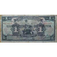 Боливия 1 боливиано 1911г. Штамп 1928