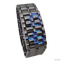 Стильные LED часы Lava Style Iron Samurai синие светодиоды новые в Минске.