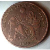 АВСТРАЛИЯ ХОЛЛОВЕЙ  1/2 пенни 1858 год