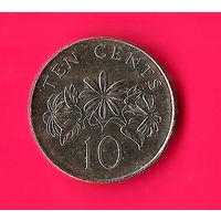 17-44 Сингапур, 10 центов 2009 г. Единственное предложение монеты данного года на АУ
