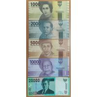 Набор банкнот Индонезии - 1000,2000,5000,10000,20000 рупий 2016 года - UNC
