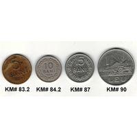 W: Румыния, Народная Республика, 1 лей 1963, 15 бани 1960, 10 бани 1954, 5 бани 1957 (103)