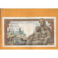 Франция 1000 франков 1942г.  БОЛЬШОЙ  РАЗМЕР